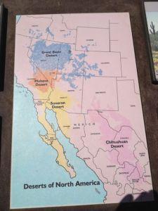 Den här kartan tyckte jag var intressant. Den visar de olika öknarna i USA och Mexico. Phoenix ligger mitt i Sonora öknen.